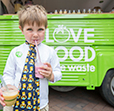 Boy with smoothie at the Nottingham 10 Cities event
